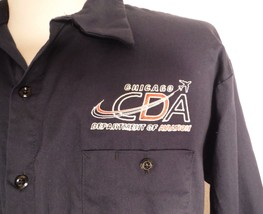 Chicago Department of Aviation Long Sleeve Navy Blue Button Front Shirt ... - $27.87