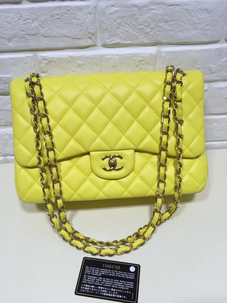 66f5f213bf86 AUTHENTIC CHANEL LIMITED EDITION YELLOW QUILTED LAMBSKIN JUMBO ...