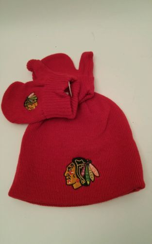 Chicago Blackhawks Toddler Cap & Mittens New Tags Fan Favorite NHL Licensed Hat