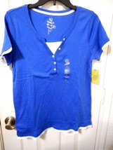 Women's Made For Life Short Sleeve Layered T Shirt Blue Size Small NEW - $14.84