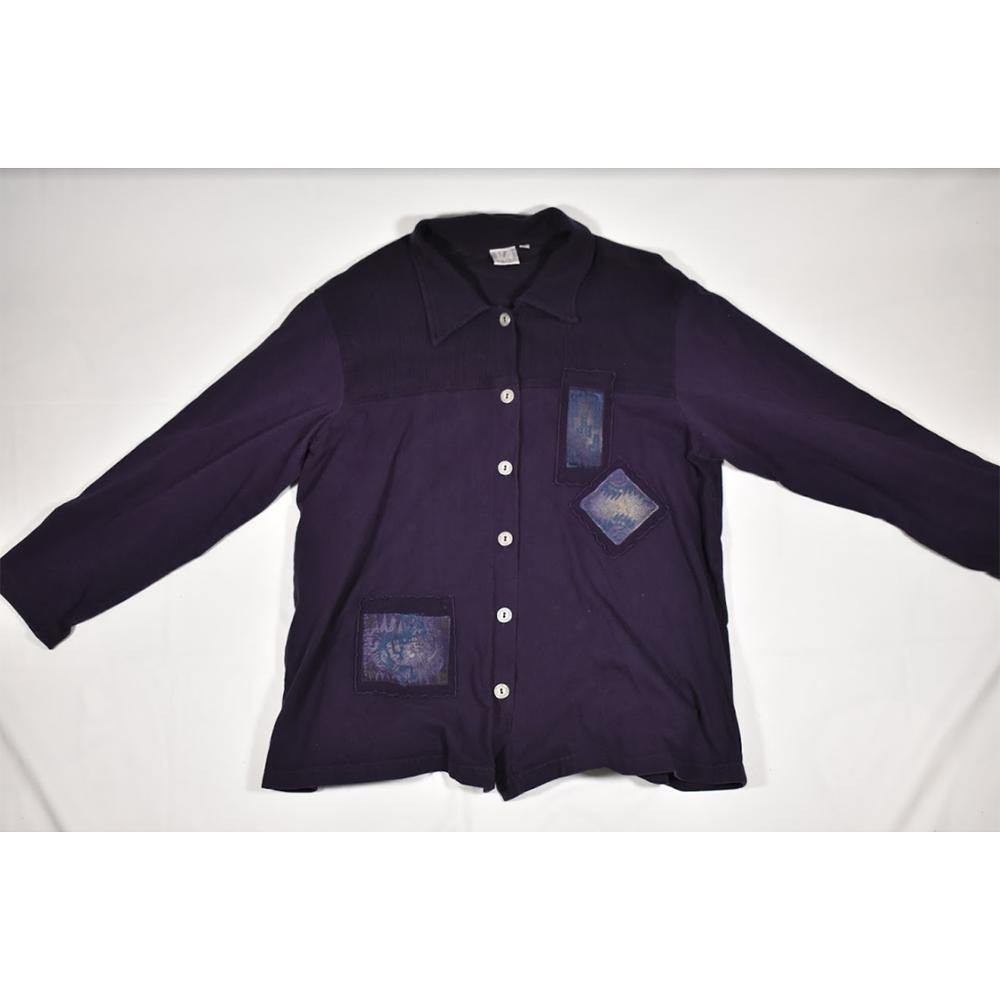 Womens Focus USA Purple LS Button Down Shirt / Overshirt Size Large - $48.99