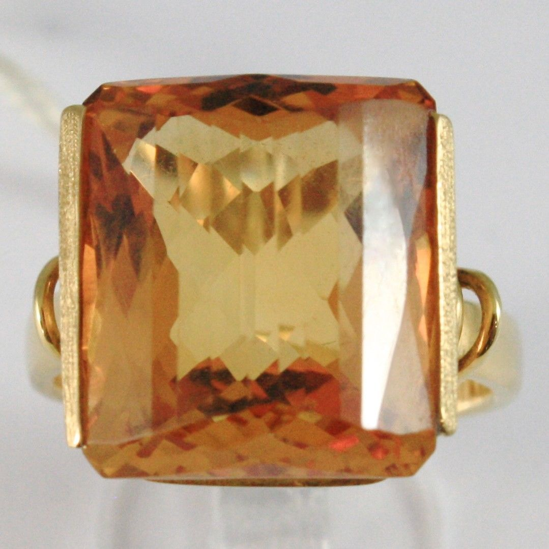 YELLOW GOLD RING 750 18K, QUARTZ CITRINE CARAT 16, CUT CUSHION SQUARE