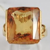 YELLOW GOLD RING 750 18K, QUARTZ CITRINE CARAT 16, CUT CUSHION SQUARE - £797.67 GBP