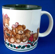 Christmas Mug Teddy Bears Holly Potpourri Press 1980s Green Holiday Cocoa Tea - $28.00