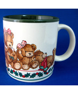 Christmas Mug Teddy Bears Holly Potpourri Press 1980s Green Holiday Coco... - $28.00