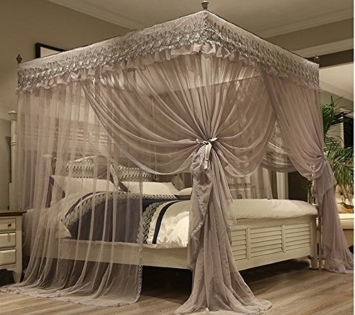 Canopy Bedroom Curtains: Mengersi Princess 4 Corners Post Bed Canopy Bed Curtains