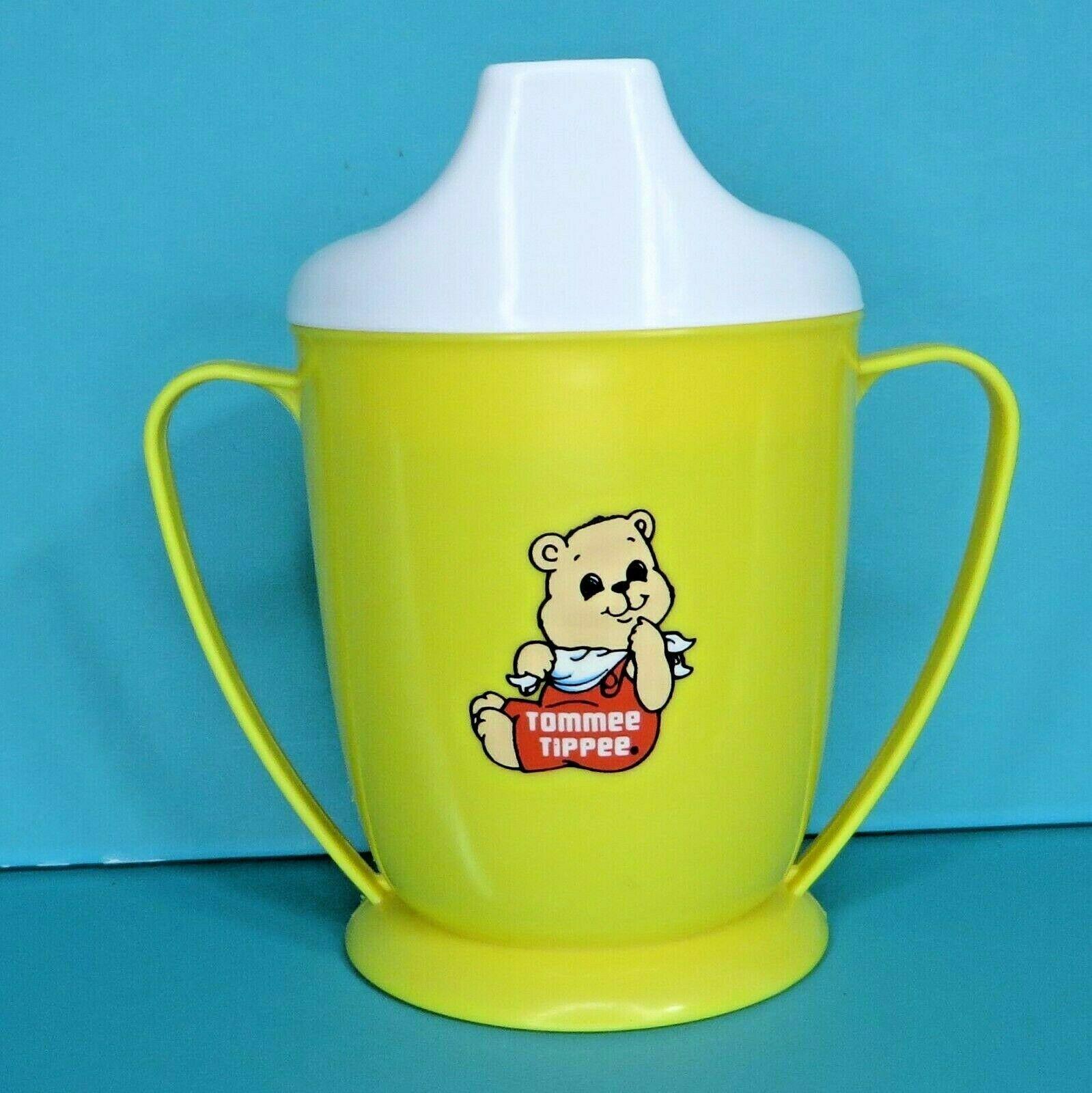 Tommee Tippee Teddy Bear Yellow Sippy Cup White Lid Vintage 1989 Playskool Baby - $14.95
