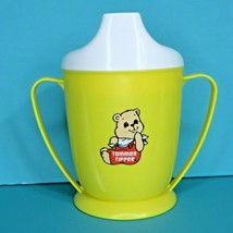 Tommee Tippee Teddy Bear Yellow Sippy Cup White Lid Vintage 1989 Playsko... - $14.95