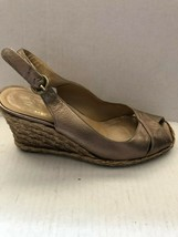 Stuart Weitzman Shoes Gold Leather Slingback Espadrille Shoe Size 5.5 - $48.51
