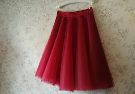 Women Tulle Circle Midi Skirt High Waist A-line Full Circle Midi Party Skirts image 6