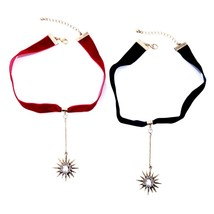 Unique Crystal Star Punk Red&Blue Velvet Strip Choker Necklaces For Wome... - $9.33