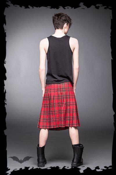 "Men's Red Scottish Tartan Punk Pleated Buckled Plaid Kilt sizes 32"" - 46"""