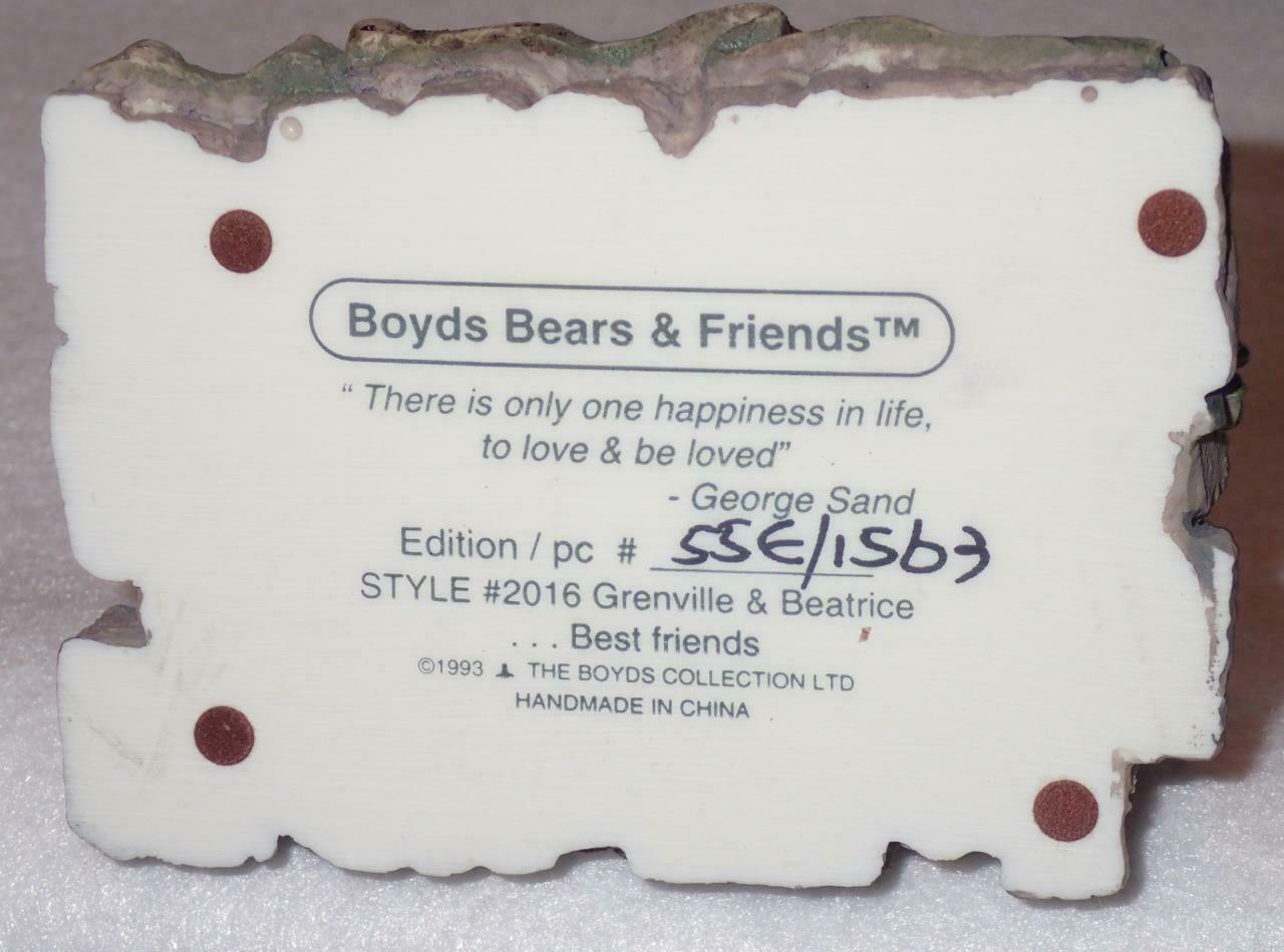 Boyd Bearstone Resin Bears Grenville & Beatrice Best Friend Figurine #2016 image 4