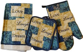 INSPIRATIONS KITCHEN SET 5-pc Towels Potholders Mitt Love Laugh Dream Bl... - $16.99
