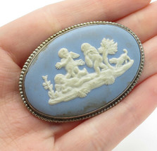 WEDGWOOD ENGLAND 925 Silver - Vintage Carved Shell Blue Cameo Brooch Pin... - $56.78