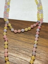 Vintage Pastel Chalcedon 60 nch Necklace Jumprope Beaded - $75.24