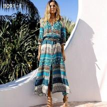 Women's New Boho Floral Print Long Maxi Beach Sundress image 7