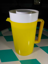 Fantastic Vintage MID MoD Yellow Plastic Beverage Pitcher • White Lid - $12.00
