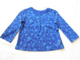 The Children's Place Baby Girl's Long Sleeve T Shirt Blue Hearts Flowers... - $13.49