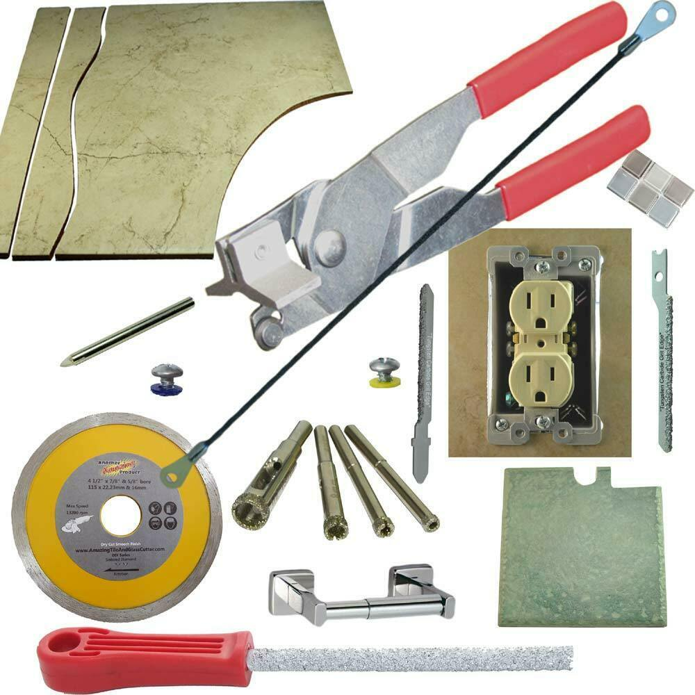 Tile & Glass Cutter Kit Red Curve Notch Cutout Jigsaw Rodsaw Grinder Drills File - $83.22