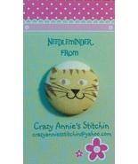 Cat Yellow Needleminder fabric cross stitch needle accessory - $7.00