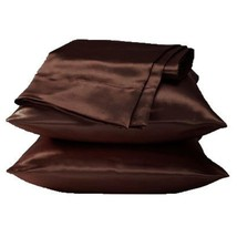 2 Standard / Queen size SATIN Pillow Cases / Covers DARK COFFEE - Brand New - £11.70 GBP