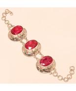 Natural African Ruby Gemstone 925 Sterling Silver Vintage Retro Bracelet... - $929,48 MXN