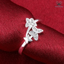 Butterfly Style Adjustable Ring In Round Cut CZ 14k White Gold Plated 925 Silver - $73.99