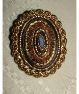 Sarah Coventry Mosaic OVAL Filigree Pendant Brooch Pin Gold Tone #8330 Vtg - $15.00