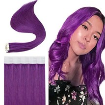 Easyouth Purple Tape in Human Hair Extensions 16Inch 25g 10Pcs Per Package Tape