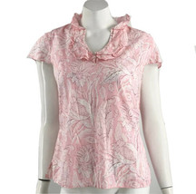 Talbots Top Small Pink White Floral Ruffle Neck Cap Sleeve Blouse Cotton... - $11.88