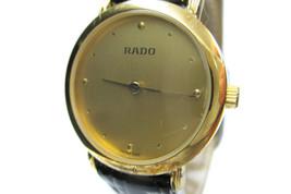Authentic RADO Gold Dial Black Leather Band Women's Quartz Watch / 204.3591.2 - $159.00