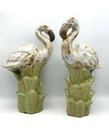 2 Large White Brown Greater Flamingo Figurines Pair of Ceramic Flamingos... - $110.32