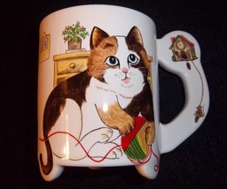 Footed Blue Eyes Cat Mug Calico Kitten Lover Yarn Ball Mouse Kitty Brown... - $16.82