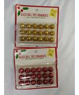 "Vintage Mini Glass Ball Tree Ornaments Red Yellow 1/2"" Kmart - $29.95"