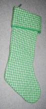 "Vintage Christmas Stocking Green White Gingham Plaid 20"" Handmade Unique... - $14.80"