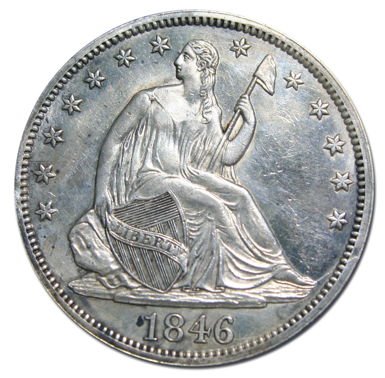 1846 Tall Date Seated Silver Liberty Half Dollar 50¢ Coin Lot# MZ 2941