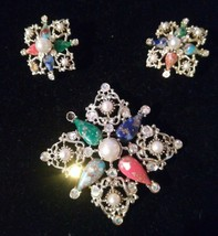 Vintage Sarah Coventry Galaxy Rhinestone Faux Pearl Marbled Brooch Earring Set - $24.74