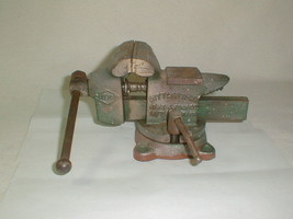 LITTCO LITTLESTOWN BENCH VISE w ANVIL 3-1/2'' JAW No 112 VINTAGE SWIVEL ... - $65.00