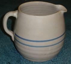 Primitive Stoneware Ceramic Pottery Crock Pitcher Blue Stripe Country Ki... - $33.94