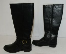 Soda HIROS Black Zip Up Riding Boot Gold Colored Accents Size 6 And Half image 5