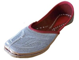 Women Shoes Indian Handmade Punjabi Mojari Leather Flip-Flops Jutti Silv... - £24.51 GBP