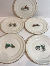 Harker Pottery Co. Antique Vintage Car 5 Snack Appetizer Plates 22 K Gold Trim - $24.74