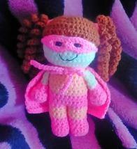 Hand Made Crochet Super Girl Generic Super Hero Doll Hot Pink - $30.00