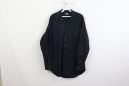 Vintage 90s Polo Ralph Lauren Mens Medium Fleece Jac Shirt Blue Polyester USA - $59.35