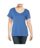 Karen Scott PLUS WOMENS COTTON EYELET T-SHIRT Maliblue 2X New - $25.70