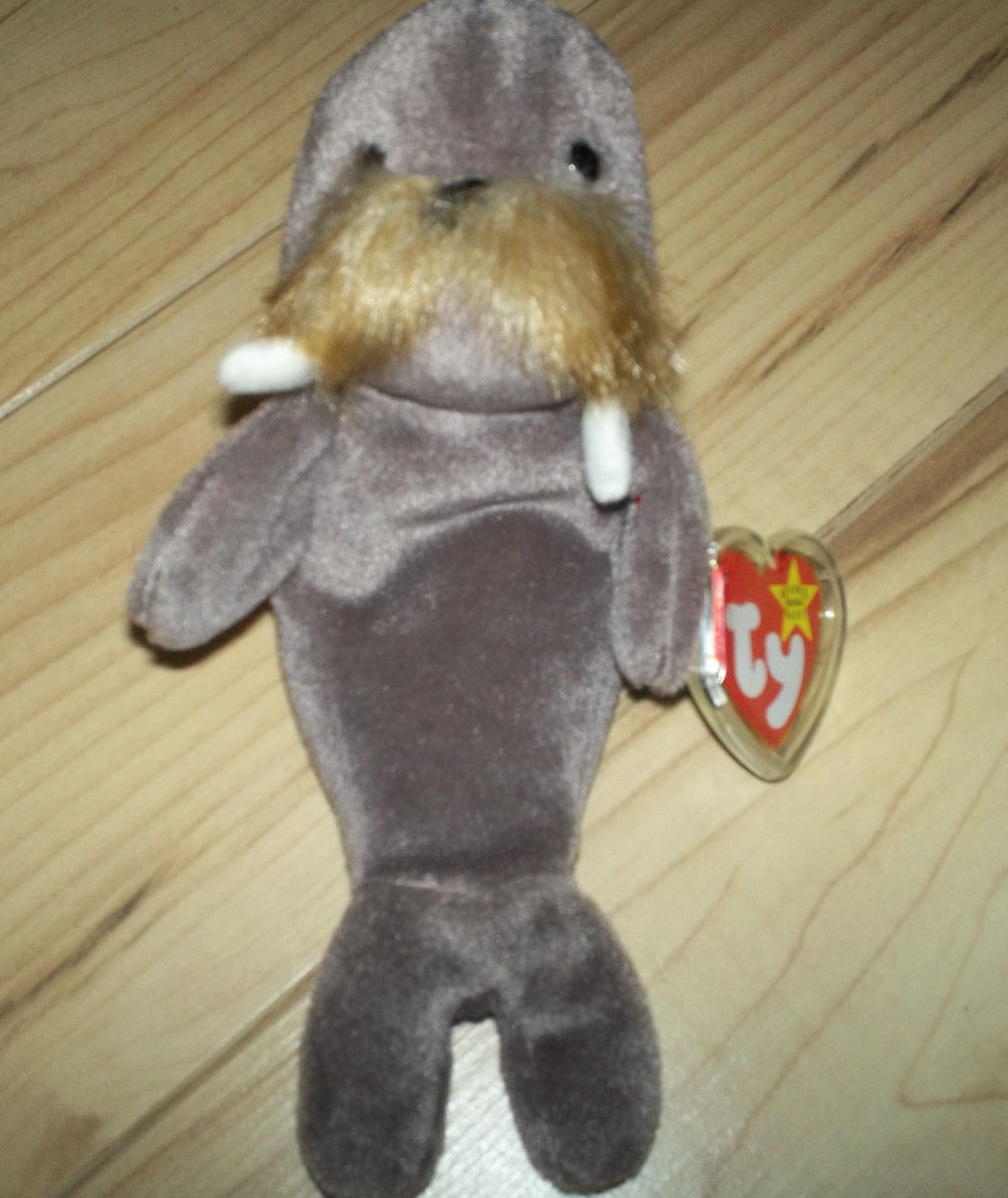 "TY BEANIE 1996 PLUSH 8"" ""JOLLY"" THE WALRUS  WITH PROTECTED EAR TAG"