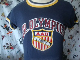 Vintage Champion Blue Bar Tag Wisconsin Jr Olympics ringer T Shirt Sz S - $27.71