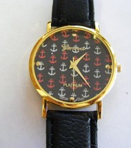 Geneva Platinum Black Leather Dial Face Anchors Gold Bezel Watch Strap Band - $6.92