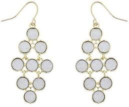 Lux Accessories Goldtone Metal Sticker Glitter Circle Waterfall Dangle Earrings - $22.13